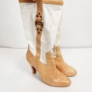 Frye Ava canvas pull on heeled boots